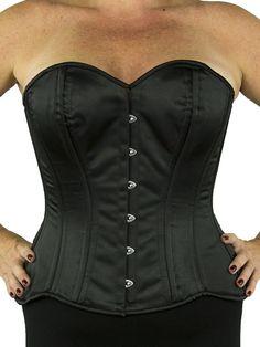 0b95879ddc4 CS 511 Black Satin Plus Size Overbust Corset - Front Womens Closet