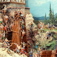 Go vintage! Castle Siege Diorama with Elastolin 7cm plastic figures, siege engines and castle. Michigan Toy Soldier & Figure Co find us at:www.michtoy.com