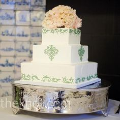 Square Wedding Cake - A sage scroll design branded all of the wedding details, including the cake.