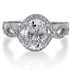 Sterling Silver Oval Cubic Zirconia CZ Solitaire Ring 2.33 ct.tw