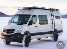 Sprinter van with Aluminess gear on the White Sands - van life Mercedes Sprinter Camper, Benz Sprinter, Mercedes Camper, Mercedes Benz, Ambulance, Motorhome, White Sands National Monument, Monument National, Sprinter Van Conversion