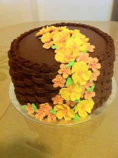 First basket-weave cake with royal icing flowers