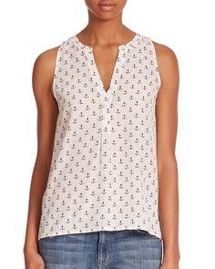 Joie | White Aruna Anchor Silk Top | Lyst