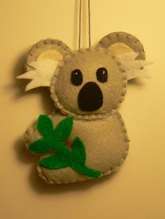 Felt Ornament  Felt Koala Bear Ornament by FeltLikeIt1 on Etsy, $10.00