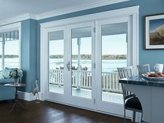 French Doors, Exterior French Doors - Renewal by Andersen. Alternative to sliding glass doors towards lake