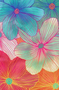 ".""Between the Lines - tropical flowers in pink, orange, blue & mint"" ... art print by Micklyn"