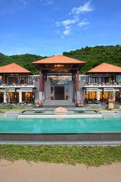 Pitched red-tile roofs and open courtyards dot this romantic retreat.  Banyan Tree Lang Co (Vietnam) - Jetsetter