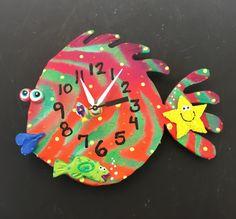 New to PondScumCeramics on Etsy: Kid's clock Clay Fish  Wall Clock for Ocean Nursery Theme (42.00 USD)
