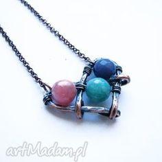 serducho, serce, boho, kamienie, miedź, wisior, łańcuszek biżuteria