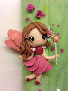 """Flowers Fairies"" frame - detail - handmade with fimo"