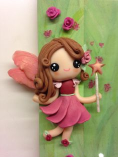 """Flowers Fairies"" frame - detail - handmade with fimo"