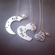 Personalized Necklace Set Hand Stamped por KristinesKeepsakes