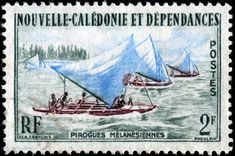 Melanesian sailing canoes, designed by French artist Georges Francois (1880-1968), engraved by Jean Pheulpin, and issued for use in New Caledonia on July 2, 1962, Scott No. 318.