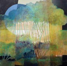 Blue Moon by Judith Bergerson Landscape Art, Landscape Paintings, Tree Art, Art Techniques, Painting Inspiration, Painting & Drawing, Watercolor Art, Pop Art, Contemporary Art