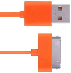Amazon.com: mySimple [10' Feet - Single Pack] of 30 Pin to USB 2.0 Data Sync Chargers w/ Smooth Flexible Outer Jacket Made of Rubber w/ Bright Visible Practical Design for Apple iPads, iPods & iPhones {Orange}: Cell Phones & Accessories