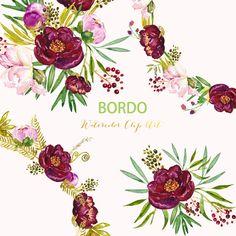 Peonies Bordo watercolor flower clipart Digital clip art hand drawn. Romantic…