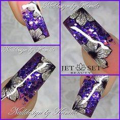 Square nails One stroke Purple