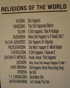 Religions 101;no offence intended, have a laugh at yourselves and don't take it seriously