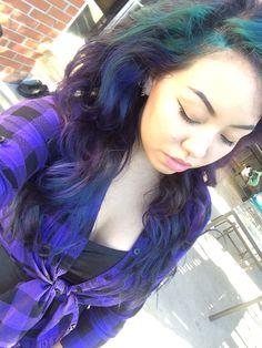 new hair purple, teal, lavender