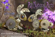 Watch Parts and Steampunk Jewelry and Sculptures by Sue Beatrice. All Natural Arts. Steampunk Animals, Hanging Clock, Coin Art, Steam Punk Jewelry, Sand Sculptures, Love At First Sight, Miniature Dolls, Steampunk Fashion, I Fall In Love