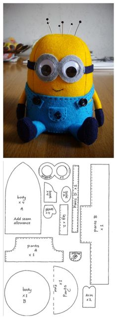 Use him to store your pins or just as a collectible friend! Felt: Yellow, blue, light gray and black or dark blue. Wobbly eyes – 2cm in diameter 4 tiny black buttons Needle and thread Sewing …