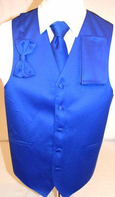 Men's Royal Blue Suit Tuxedo Dress Vest Necktie Bow Tie Handkerchief Medium