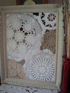 my weekend upcycle project.repurposed doilies and wood frame.love it as a wall hanging, but will likely use it to organize my earrings. Framed Doilies, Lace Doilies, Doily Art, Doilies Crafts, Creation Deco, Old Frames, Linens And Lace, Vintage Crafts, Decoration