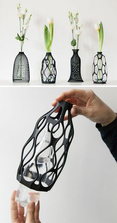 These 3D printed sculptural vase exteriors can be placed over the top of a water bottle, and can be screwed on like a cap.