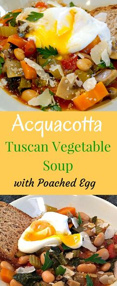 "Acquacotta - Traditional Tuscan Vegetable Soup. The story behind this ""Italian Stone Soup"" recipe is making something with nothing. A nice fresh stone and some water. Add fresh vegetables from your neighbor, a bit a stale bread and leftover Parmesan cheese, today's farm fresh eggs. Apart they aren't much of a meal, but all together with a little help from your friends, hearty and delicious!"