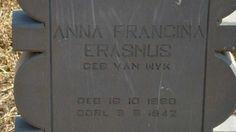 ERASMUS Anna Francina nee VAN WYK 1880-1942 Boshoff Free State Rural farm cemeteries.