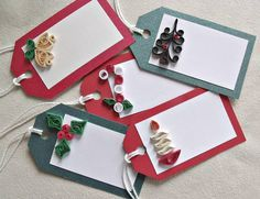 handmade paper quilled Christmas gift tags set by sayitwithblooms