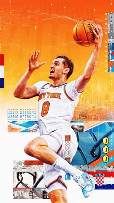 commissioned collaboration between New York Knicks and Tyson Beck. Featuring wallpapers for all 15 players on the Knicks Roster. Nba New York, New York Knicks, Mario Hezonja, Sports Graphic Design, Basketball Design, Sports Graphics, Nba Stars, Sports Wallpapers, Inspirational Posters