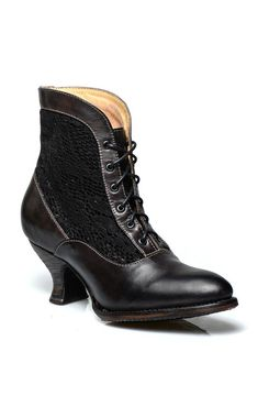 Steampunk Boots & Shoes Vintage Style Victorian Lace Up Leather Boots in Black Rustic $235.00 AT vintagedancer.com