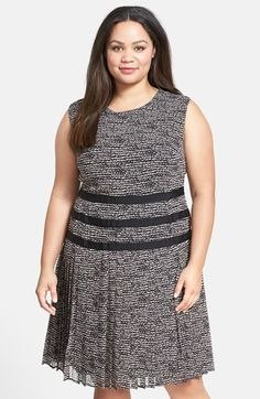 Halogen® Grosgrain Trim Pleated Dress (Plus Size) available at #Nordstrom