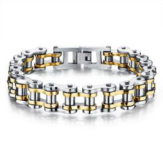 Biker Stainless Steel Mens Bracelet Fashion Sports Jewelry Bike Bicycle Chain Link Bracelet Casual Jewellery Oh just take a look at this! Visit us Bike Chain Bracelet, Bracelet Cuir, Bracelet Men, Link Bracelets, Bracelets For Men, Bangle Bracelets, Mens Bracelet Fashion, Stainless Steel Jewelry, Chains For Men