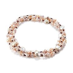 This fabulous long strand Pearl Necklace features cultured freshwater baroque and coin pearls complemented byfacettedgarnet beads in natural pastel colours. £69.95 Long Pearl Necklaces, Baroque Pearl Necklace, Freshwater Pearl Necklaces, Short Necklace, Baroque Pearls, Pearl Jewelry, Diy Jewelry, Garnet Necklace, Beaded Necklace