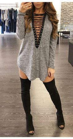 Lace Up Plunging Neck Dress