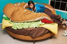 Evan HAS to have this in his room. How cool would it be to come home to a cheesburger bed?