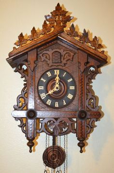 Antique German Black Forest Train Station Style Cuckoo Clock
