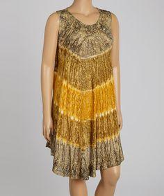 Another great find on #zulily! Tan & Orange Tie-Dye Shift Dress - Plus #zulilyfinds