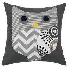 Patchwork owl throw pillow