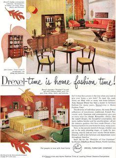 Drexel Declaration Mid Century Modern Furniture TOURAINE Travis Court 1959 Ad #Drexel