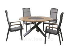 TEEK | Jídelní stůl Tobago, Ploss, kulatý 150 cm, hliník, teak - Designový zahradní nábytek a slunečníky