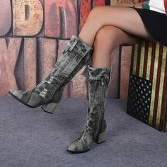 Yivette Botas Black Round Toe Chunky Heel Vintage Botas – yivette Winter Shoes, Casual Boots, Mid Calf Boots, Shoe Shop, Chunky Heels, Shoes Online, Trendy Fashion, Fashion Shoes, Ladies Boots
