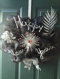 Happy New Year black deco mesh wreath