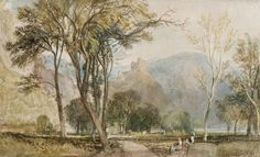 Joseph Mallord William Turner: The Marxburg 1817 Watercolour on white paper prepared with a gray wash 7 3/4 x 12 9/16 in