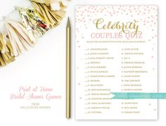 Celebrity Couples Quiz . Pink and Gold Bridal by hellorosepaperie