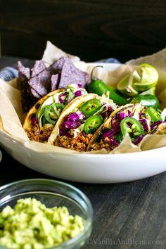 Mexican-Inspired Tofu Tacos with Chili-Lime Slaw and Cilantro-Pepita Crema | Vegan + Optionally GF