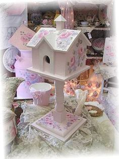 Sweet Cottage Birdhouse-Sweet cottage birdhouse69.99 I painted it  pink, trimmemmed it it in white added  beautiful  roses,