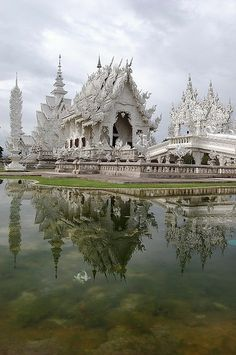 Reflections of Wat Rong Khun in Chiang Rai, Thailand - Click image to find more Travel Pinterest pins